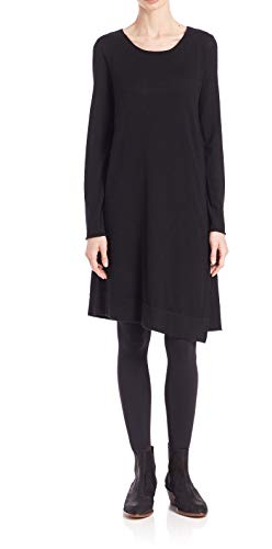 Eileen Fisher Merino Jersey Jewel Neck A Line Dress Black (Large) ()