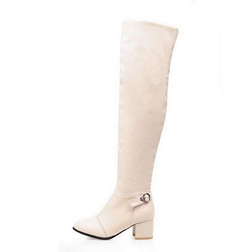VogueZone009 Damen Rein Blend-Materialien Mittler Absatz Ziehen auf Spitz Zehe Stiefel, Weiß, 37