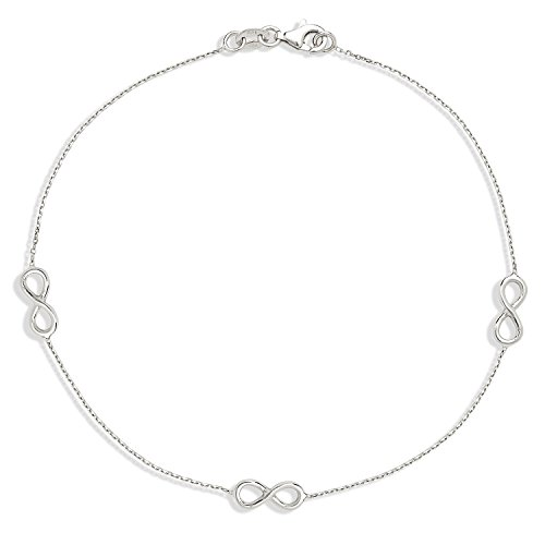 (Jewelryweb 925 Sterling Silver Rhodium-plated High-polish 10-inch Infinity Station)