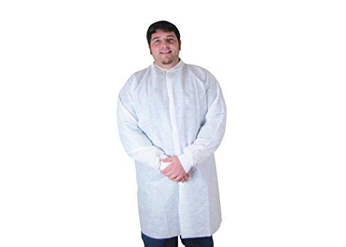 DUKAL 341P Lab Coats, Medium, w/ pockets, white