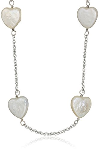 Bella Pearl Tin Cup Sterling Silver and Chinese Freshwater Cultured Pearl Heart Necklace