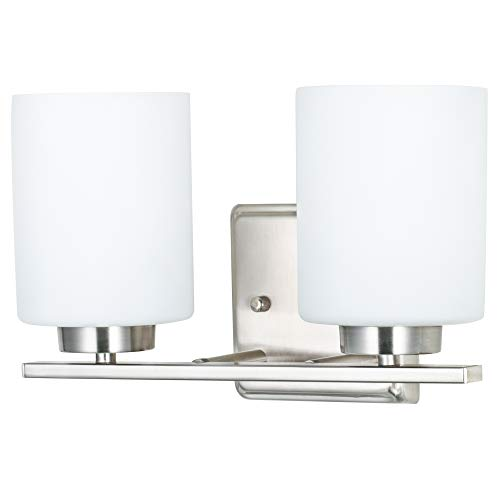 (Kingbrite 2 Lights E26 Twin Vanity Light Fixtures, Brushed Nickel,White Glass,UL Listed)