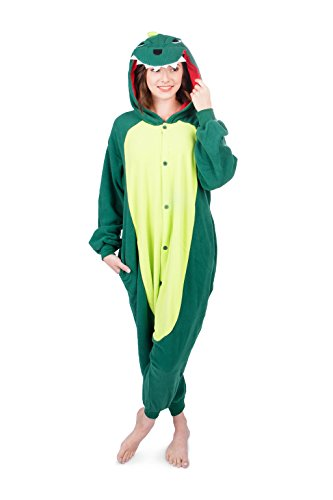 Emolly Fashion Adult Dinosaur Animal Onesie Costume Pajamas for Adults and Teens (Small, Green)]()