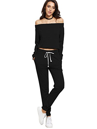 SweatyRocks Women's Two Piece Crop Top and Sweat Pant Set Sport Tracksuit Outfit Black S (Sweatpants For Set Women)