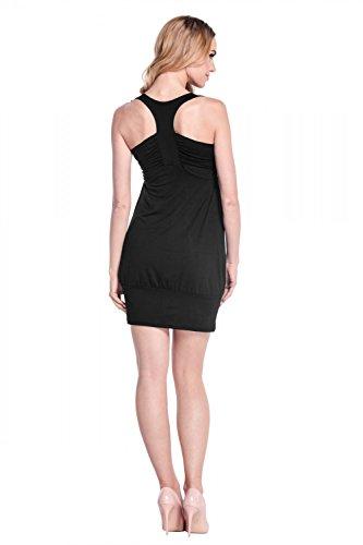 Burbuja Jersey Mujeres Túnica Vestido Empire Con Metal Espárragos Las Mangas Negro 024 Sin Glamour De fqAYUn8C