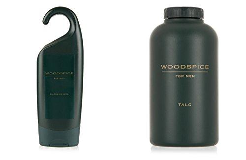 marks-spencer-woodspice-shower-gel-250-ml-talc-200-gm-for-men-combo-pack