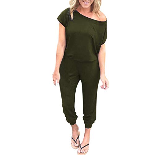 Sttech1 Women's Pocket Strapless Off Shoulder Short Sleeve Loose Jumpsuit Long Playsuit (XX-Large, Green) ()