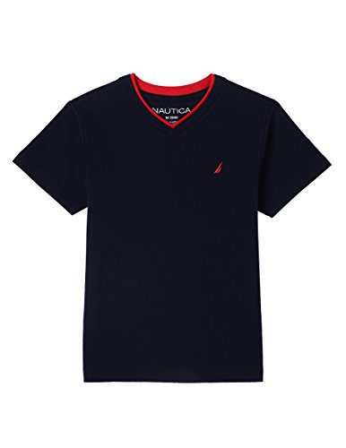 Nautica Boys' Big' Short Sleeve Solid V-Neck T-Shirt, Jordan Sport Navy, Small (8) (Kids Jordan Clothes)