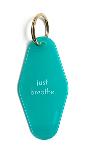 Tiffany Style Key Ring - Just Breathe Hotel/Motel Style Yoga Calm Keychain in Tiffany Blue and White