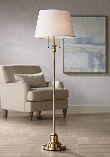 Spenser Traditional Floor Lamp Brushed Antique Brass Metal Off White Linen Fabric Drum Shade for Living Room Reading Bedroom - 360 Lighting