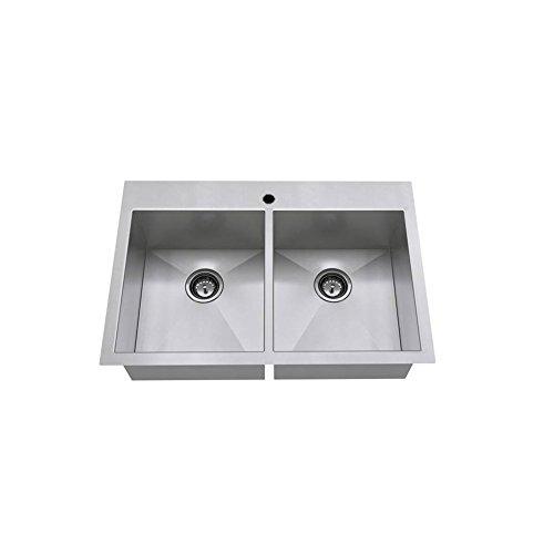 American Standard 18DB.9332211.075 Edgewater Zero Radius Dual Mount 33x22 Double Bowl w/grid and drain, Stainless Steel American Standard Double Bowl Sink