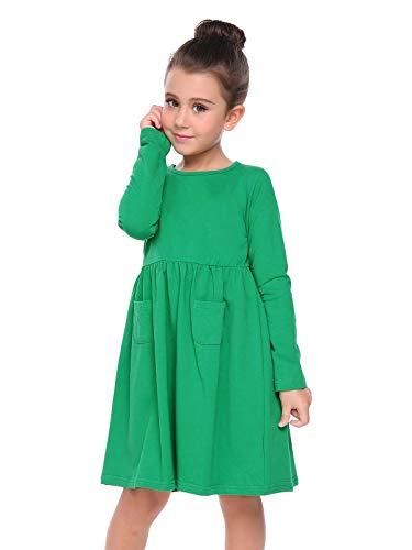 Arshiner Little Girls Long Sleeve Solid Color Casual Skater Dress,Green,130(Age for 8-9Y) -