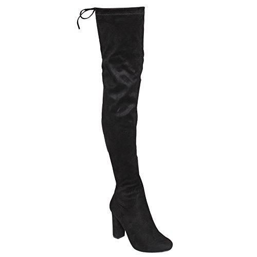 Beston De01 Womens Block Heel Con Coulisse Sopra Il Ginocchio Alto Coscia Elastico Nero