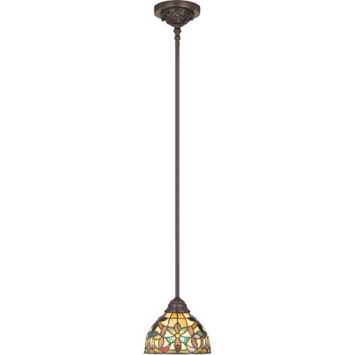 Quoizel Stained Glass Pendant - Quoizel TFKM1508VB Kami Tiffany Mini Pendant Lighting, 1-Light, 100 Watts, Vintage Bronze (9
