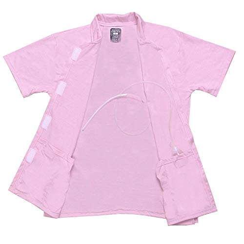 Post Op Easy Open Mastectomy Recovery Top with Pockets & Fasteners for Drains Pink