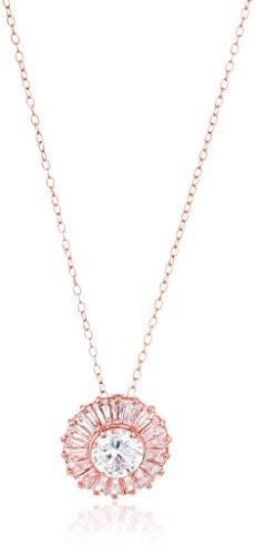 14k Rose Gold Plated Sterling Silver Cubic Zirconia Baguette Halo Pendant Necklace, (Baguette Cubic Zirconia Necklace)