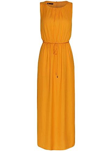 oodji Collection Mujer Vestido Largo con Elástico en la Cintura y Cordones Naranja (5500N)