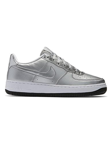 (NIKE Air Force 1 GS Leather Fashion Sneakers (Metallic Silver, 6 US Kids))