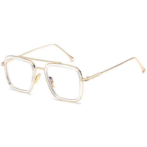 Anti Blue Light Retro Square Metal Frame for Men Women Glasses Classic Downey Iron Man Aviator Gold Frame Clear Lens
