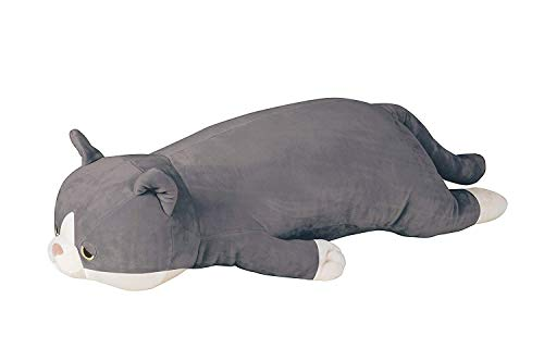 Huggable Body (Livheart Premium Nemu Nemu Sleepy Head Animals Body Pillow Plush Japan Import Huggable Super Soft Stuffed (Grey cat, Medium))