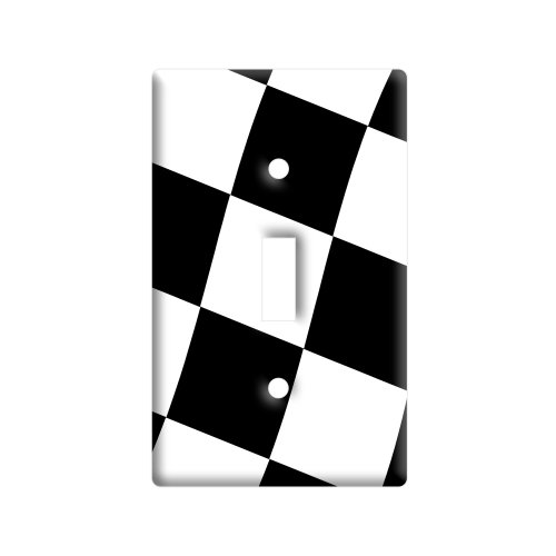 Checkered Racing Flag - Plastic Wall Decor Toggle Light Switch Plate (Flag Single Toggle Switch)