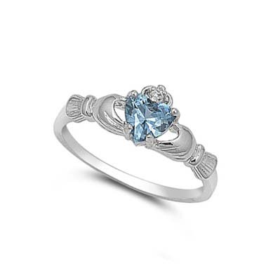 ALL NATURAL GENUINE GEMSTONE - 9MM 2ctw Sterling Silver MARCH BLUE AQUAMARINE HEART BIRTHSTONE Royal Claddagh Celtic Irish Ring-SIZE 2-13 (.925 Italian Sterling Silver, 7)