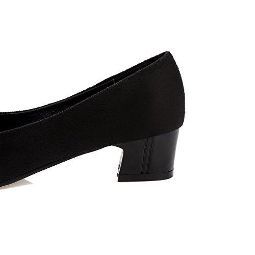Allhqfashion Kvinners Pekte Tå Lave Hæler Frostet Diverse Farge Pumper-sko Svart