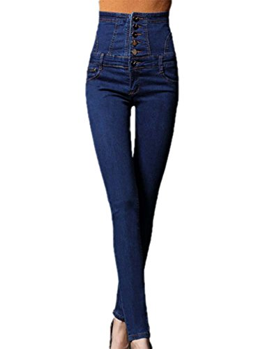 Una los de Sola delgados Azul alta Pantalones Huateng lápiz ajustados de Pantalones pies elásticos cintura de Jeans Fila Oscuro wTqAz6
