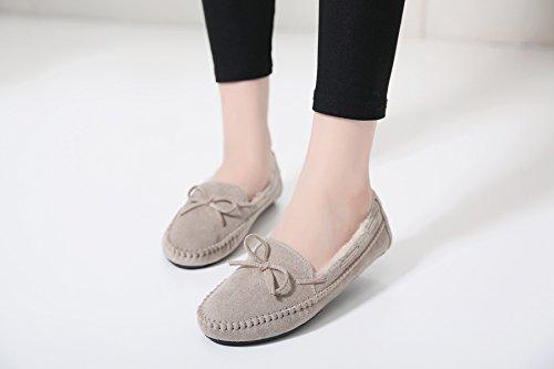 Pantofole Da Donna In Ecopelle Di Meeshine, Comode Mocassini Da Esterno Per Interni, Fannullone Grigio