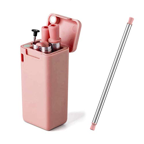 Collapsible Reusable Straws, Stainless Steel Silicone Metal Drinking Straw, Portable Folding Straws with Hard Case and Cleaning Brush 1 Pack (Pink)