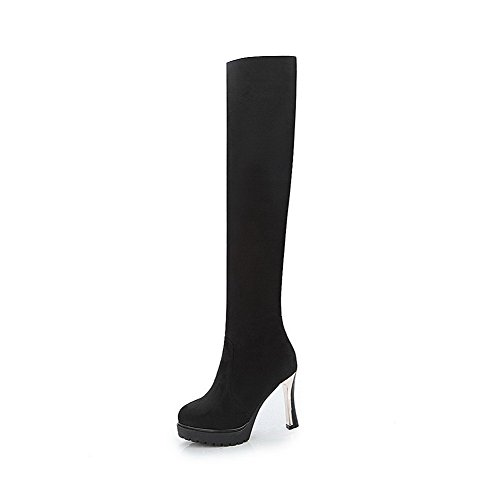 AgooLar Top Solid Frosted High Pull On Black Women's Heels High Boots FTnwPWF