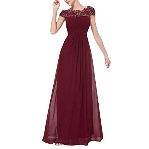 - FAPIZI Women Sleeveless Solid Strappy V-Neck Lace Cocktail Wedding Casual Bridesmaid Gown Long Dress Watermelon Red