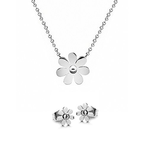 KESTYLE Womens Girls Fashion Stainless Steel Vintage Daisy Flower Pendant Necklace