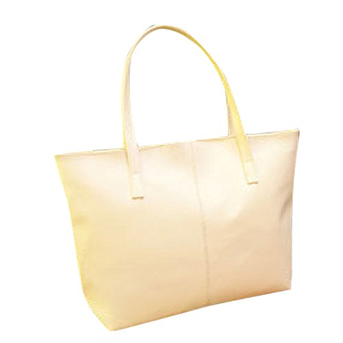 Women Handbag Shoulder Bag Messenger Tote Purse PU Leather (White) - 9