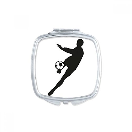 DIYthinker Sports Football Soccer Silhouette Square Compact Makeup Pocket Mirror Portable Cute Small Hand Mirrors Gift by DIYthinker