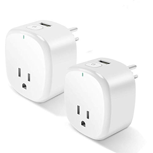 Smart Plug 2 Pack, Control Your Electric Devices Anytime and Anywhere, Timer Outlet with USB Port, No Hub Required, Compatible with Alexa & Google Assistant [UL & FCC Certificated] by Loneyshow