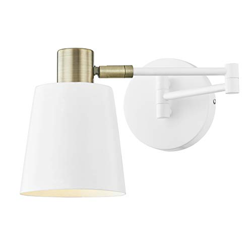 Light Society LS-W306-WH Alexi Wall Sconce in Matte White with Swivel Arm and Brass Details, Modern Contemporary Loft-Style Lighting