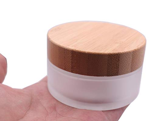 Environmental Bamboo Lid Frosted Glass Bottle Cream Jars Empty Cosmetic Comtainer 1pcs (50G/1.7oz)