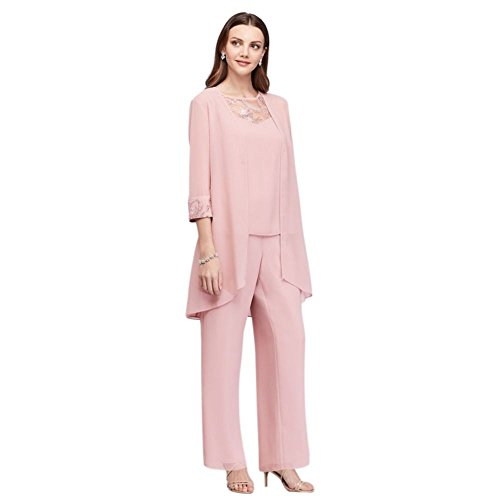Lace-Detailed Georgette Three-Piece Pantsuit Style 26335, Dusty Rose, 14