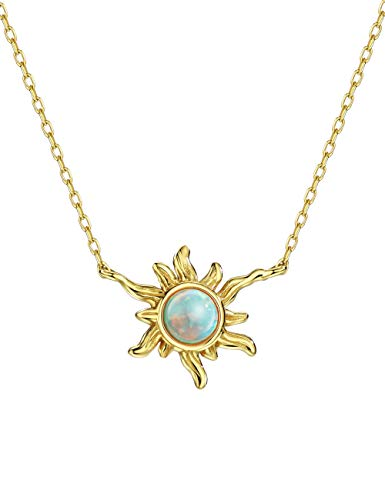 14K Gold Plated Sun Green Created Opal Sterling Silver Dainty Necklace for Women 16-18