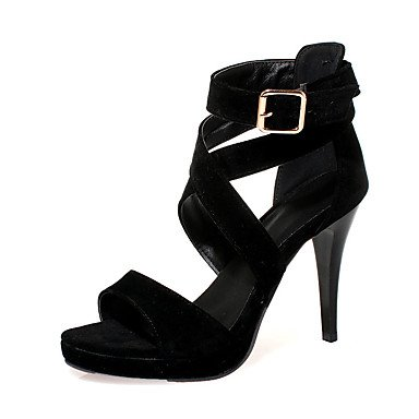 LvYuan Mujer-Tacón Stiletto-Confort-Sandalias-Oficina y Trabajo Informal Fiesta y Noche-Semicuero-Negro Naranja Black