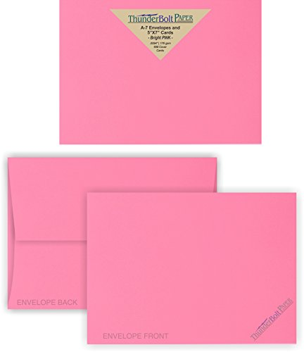 5X7 Blank Cards with A-7 Envelopes - Bright Pink - 50 Sets - Matching Pack - Invitations, Greeting, Thank You, Notes, Holidays, Weddings, Birthdays, Announcements (Birthday Printable Cards Thank You)