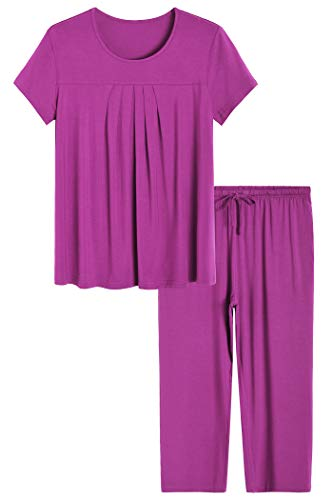 Latuza Women's Pajamas Pleated Loungewear Top and Capris Pjs Set M Boysenberry