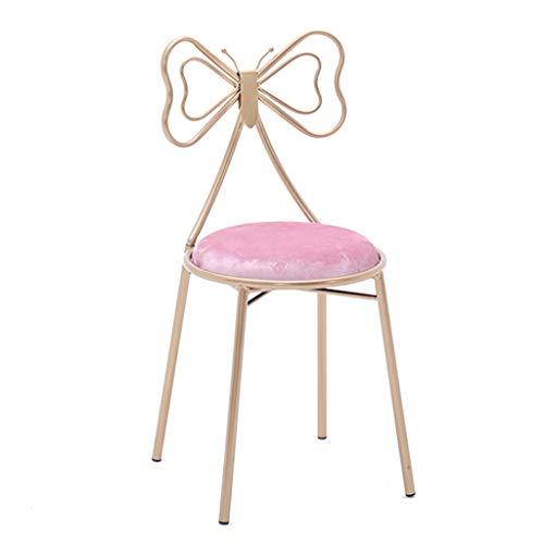 - Jizhen Dressing Stool Dressing Chair Makeup Stool Makeup Chair Dressing Stool Bedroom Back Dressing Chair European Dressing Table Chair Sitting Height 45cm Pink Velvet Butterfly Chair
