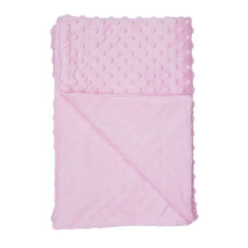 Annlaite Unisex Children's Baby Quilt Soft Baby Blanket Minky Dot- Sherpa Fleece Baby Blanket 30 by 40 Inch Pink