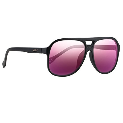 Classic Plastic Aviator Sunglasses - Polarized Lenses - by NECTAR (Rico - Black Frames | Pink ()