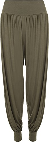 WearAll Women's Plus Size Hareem Trousers Ladies Full Length Stretch Pants - Green - US 8-10 (UK 12-14)