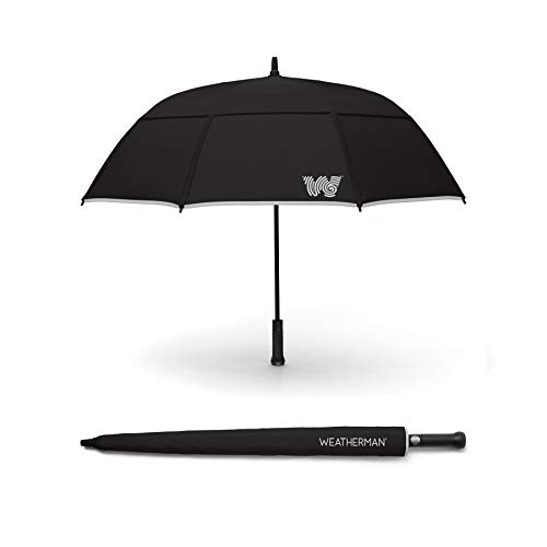 The Weatherman Umbrella – Stick Umbrella Made with Teflon-Coated Fabric and Withstands Winds Up to 55 MPH – Available in 6 Colors (Black)