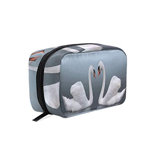 Meeting Mist Pair Lake Swans Cosmetic Bag Black Zipper Storage Bag Portable Ladies Travel Square Makeup Brushes Bag ()