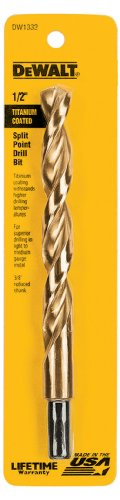 DEWALT DW1332 1/2-Inch Titanium 3/8-Inch Reduced Shank Split Point Twist Drill Bit ()